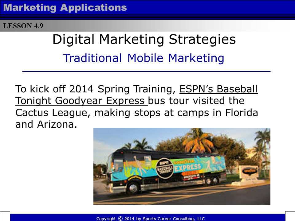 LESSON 4.9 Marketing Applications Major League Soccer encouraged fans to cast votes for their favorite players to be included in the All-Star game via text messaging.