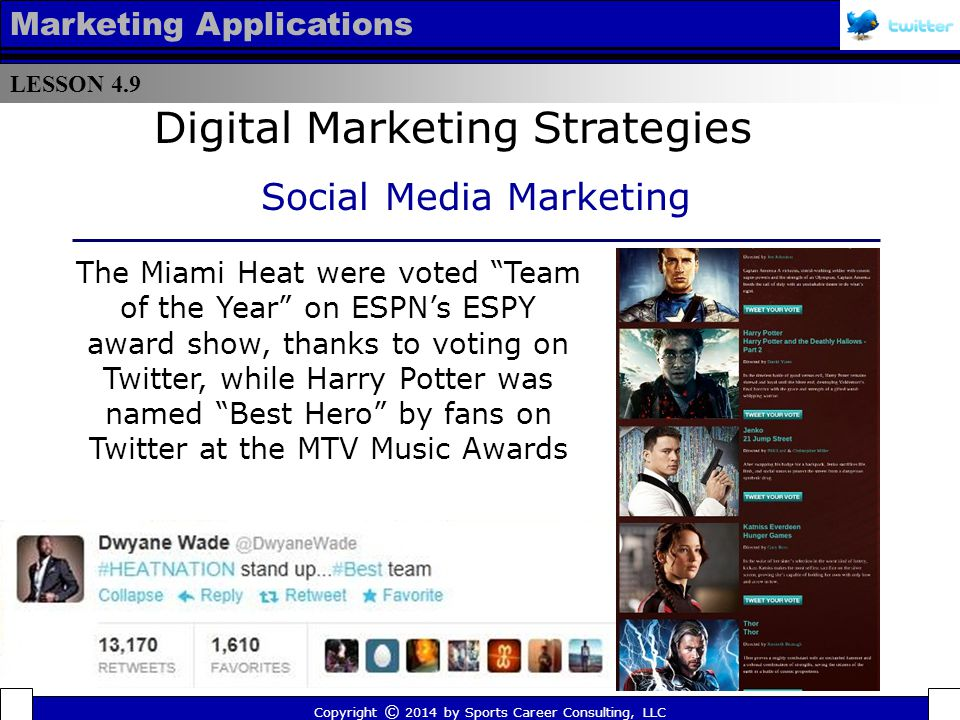 LESSON 4.9 Marketing Applications Many teams, like the NHL's New Jersey Devils, featured Twitter related messaging (from Twitter handles to hashtags ) on team merchandise Copyright © 2014 by Sports Career Consulting, LLC Digital Marketing Strategies Social Media Marketing