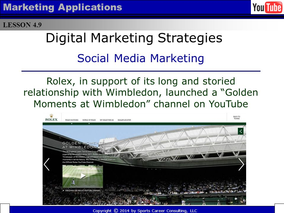 LESSON 4.9 Marketing Applications The Harlem Globetrotters have successfully created a connection with fans by creating memorable content on their You Tube channel, including a clip of one of their players dunking a basketball without jumping (which has garnered over 4 million views already).