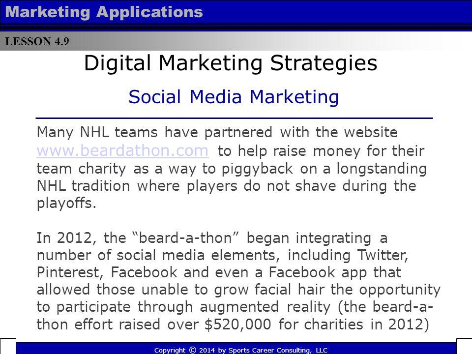 LESSON 4.9 Marketing Applications Copyright © 2014 by Sports Career Consulting, LLC Digital Marketing Strategies Social Media Marketing