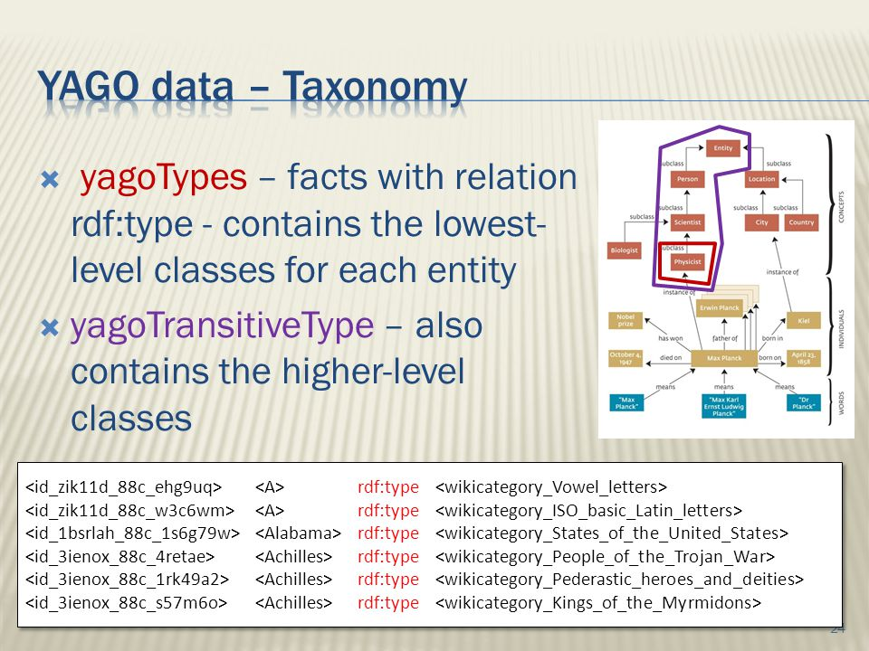  yagoTypes – facts with relation rdf:type - contains the lowest- level classes for each entity  yagoTransitiveType – also contains the higher-level classes 24 rdf:type