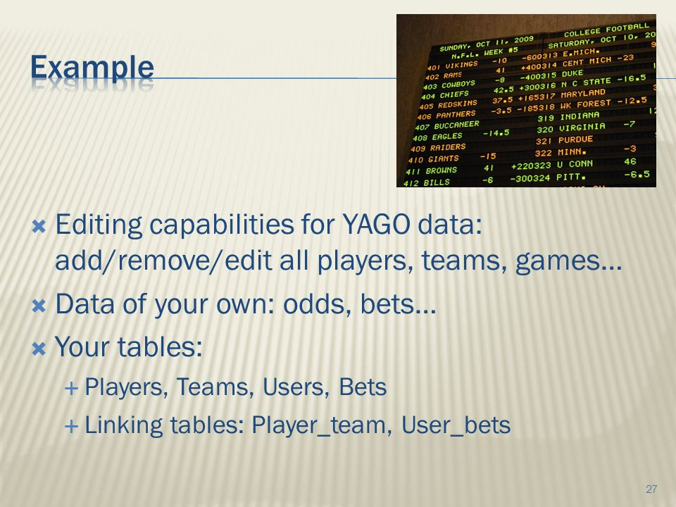  Editing capabilities for YAGO data: add/remove/edit all players, teams, games…  Data of your own: odds, bets…  Your tables:  Players, Teams, Users, Bets  Linking tables: Player_team, User_bets 27