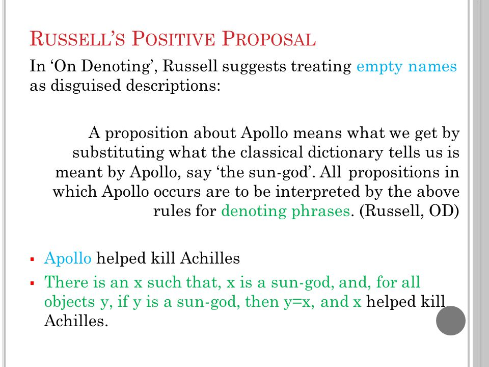R USSELL ' S P OSITIVE P ROPOSAL In 'On Denoting', Russell suggests treating empty names as disguised descriptions: A proposition about Apollo means w