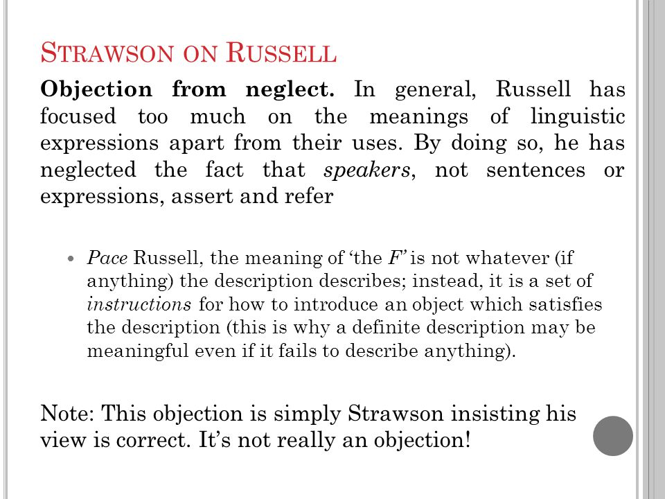S TRAWSON ON R USSELL Objection from neglect.
