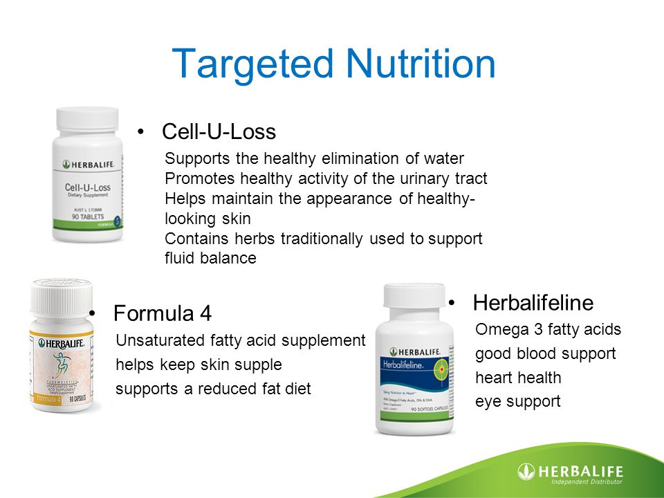 Targeted Nutrition Formula 4 Unsaturated fatty acid supplement helps keep skin supple supports a reduced fat diet Cell-U-Loss Supports the healthy elimination of water Promotes healthy activity of the urinary tract Helps maintain the appearance of healthy- looking skin Contains herbs traditionally used to support fluid balance Herbalifeline Omega 3 fatty acids good blood support heart health eye support