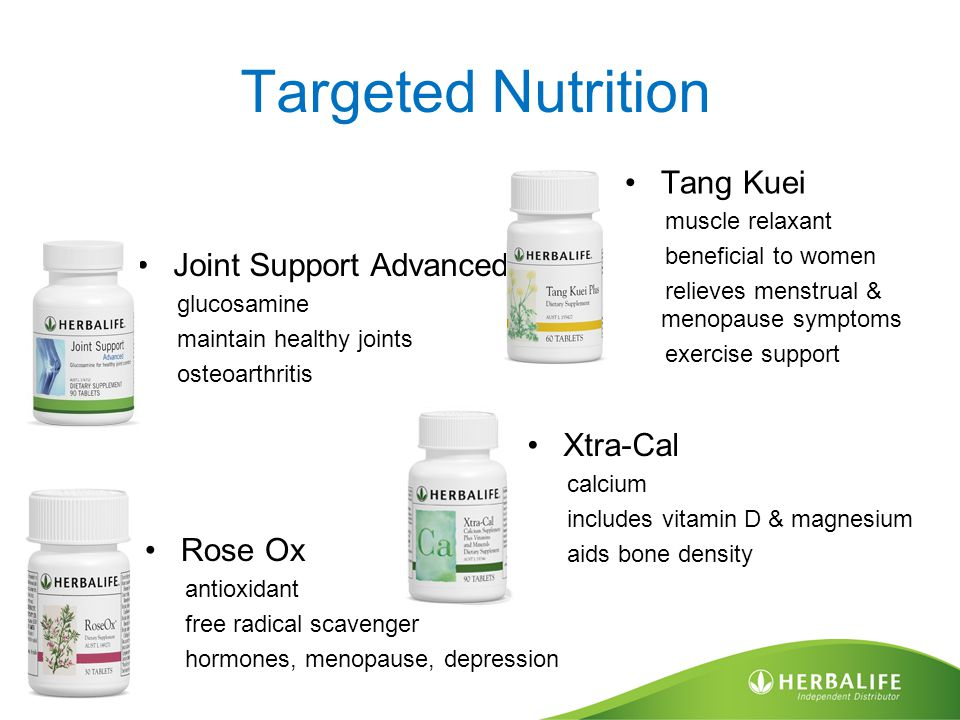 Targeted Nutrition Joint Support Advanced glucosamine maintain healthy joints osteoarthritis Rose Ox antioxidant free radical scavenger hormones, menopause, depression Tang Kuei muscle relaxant beneficial to women relieves menstrual & menopause symptoms exercise support Xtra-Cal calcium includes vitamin D & magnesium aids bone density