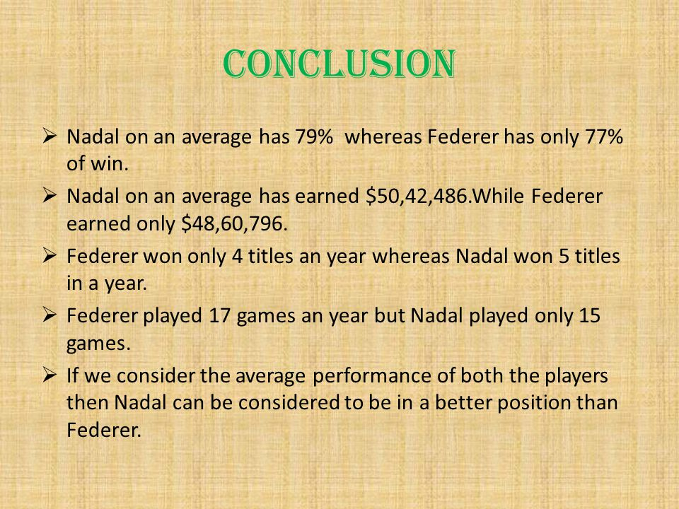 CONCLUSION  Nadal on an average has 79% whereas Federer has only 77% of win.