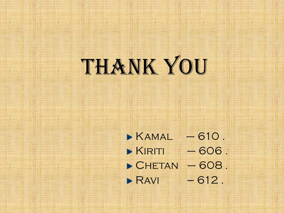 Thank You Kamal – 610. Kiriti – 606. Chetan – 608. Ravi --- 612.
