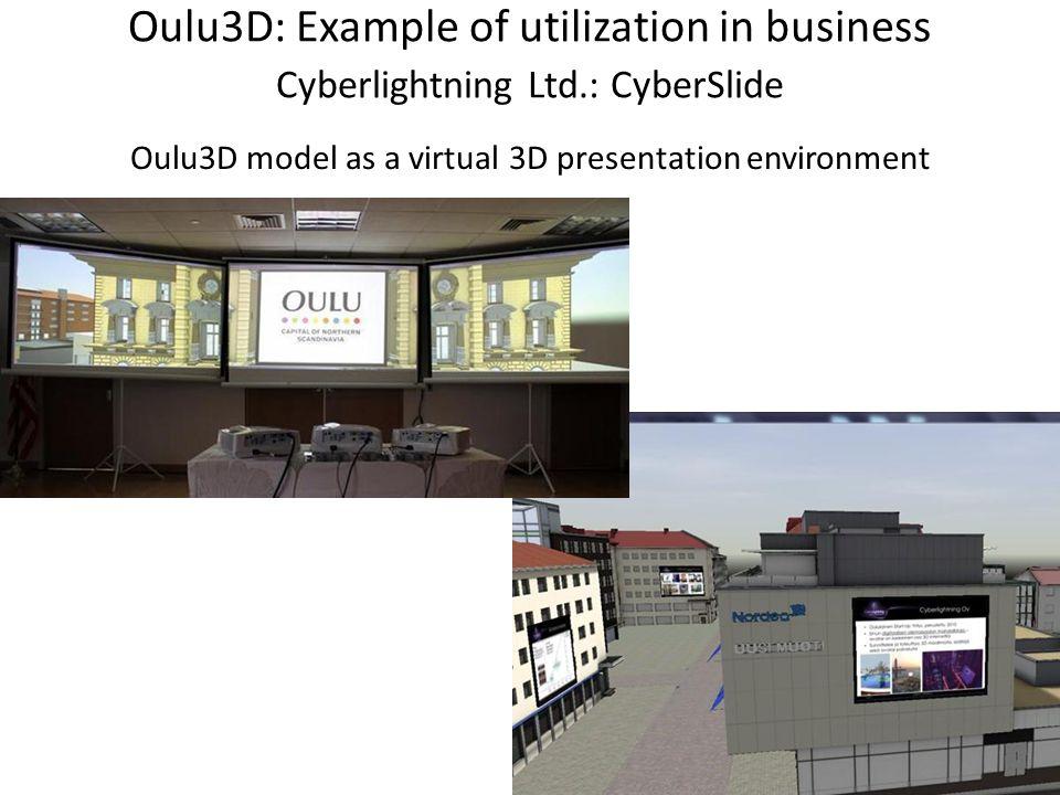 Oulu3D: Example of utilization in business Cyberlightning Ltd.: CyberSlide Oulu3D model as a virtual 3D presentation environment