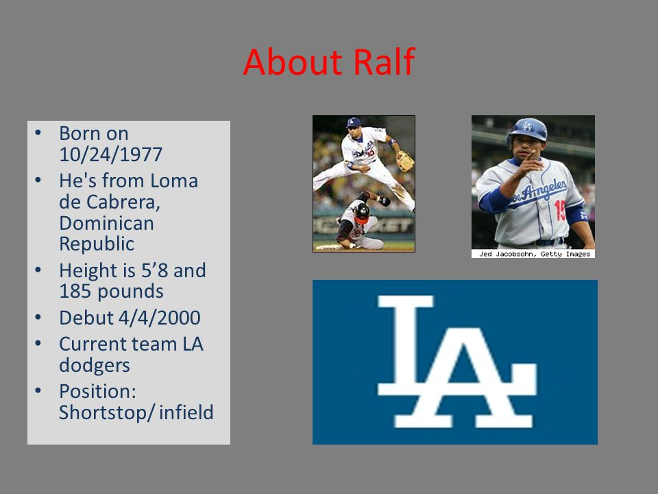 About Ralf Born on 10/24/1977 He's from Loma de Cabrera, Dominican Republic Height is 5'8 and 185 pounds Debut 4/4/2000 Current team LA dodgers Positi