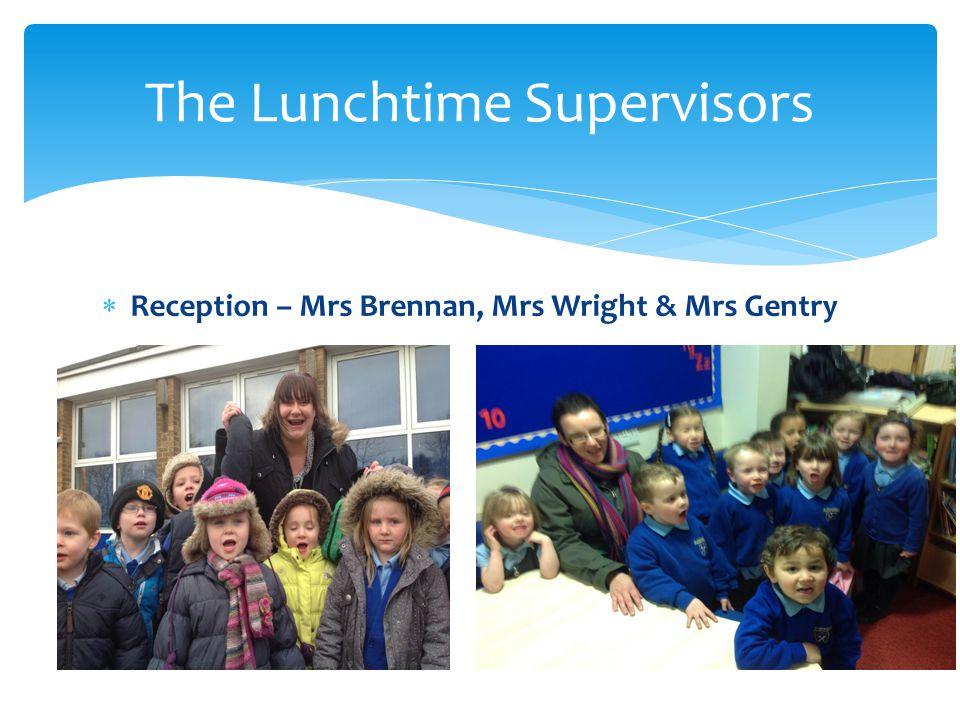  Reception – Mrs Brennan, Mrs Wright & Mrs Gentry The Lunchtime Supervisors