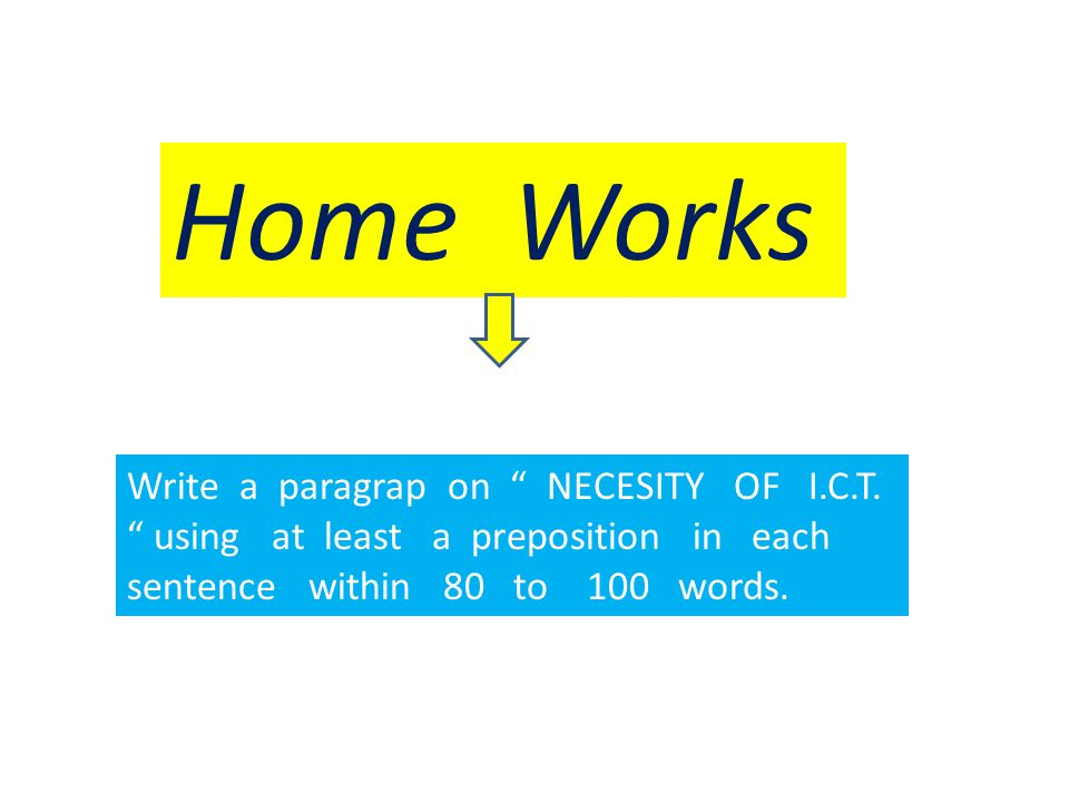 Home Works Write a paragrap on NECESITY OF I.C.T.