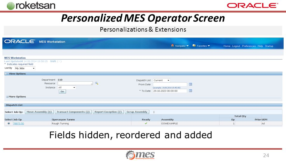 Personalized MES Operator Screen Personalizations & Extensions 24 Fields hidden, reordered and added