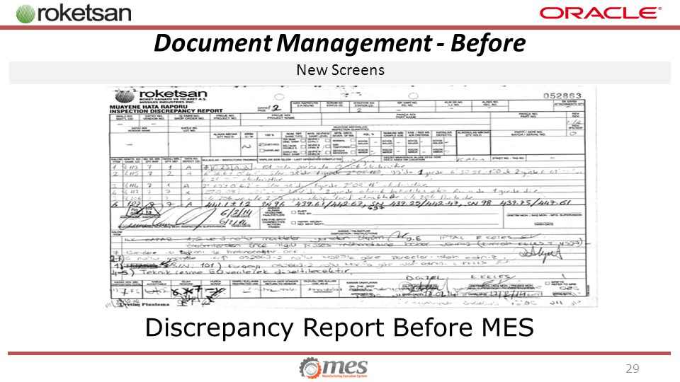 Document Management - Before New Screens 29 Discrepancy Report Before MES