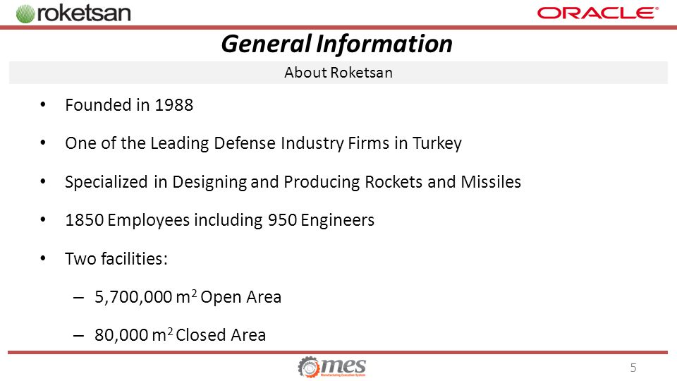 General Information Founded in 1988 One of the Leading Defense Industry Firms in Turkey Specialized in Designing and Producing Rockets and Missiles 1850 Employees including 950 Engineers Two facilities: – 5,700,000 m 2 Open Area – 80,000 m 2 Closed Area About Roketsan 5