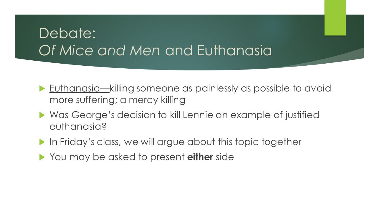  Euthanasia—killing someone as painlessly as possible to avoid more suffering; a mercy killing  Was George's decision to kill Lennie an example of justified euthanasia.
