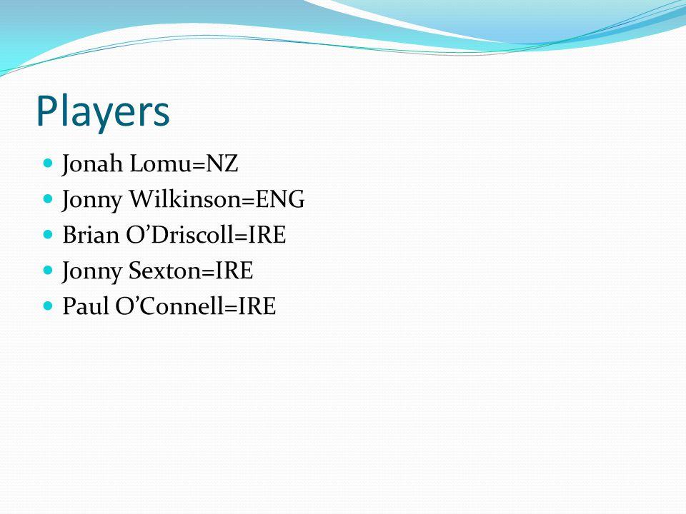 Players Jonah Lomu=NZ Jonny Wilkinson=ENG Brian O'Driscoll=IRE Jonny Sexton=IRE Paul O'Connell=IRE