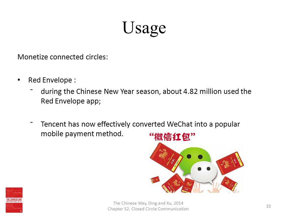 Usage Monetize connected circles: Red Envelope : ⁻during the Chinese New Year season, about 4.82 million used the Red Envelope app; ⁻Tencent has now effectively converted WeChat into a popular mobile payment method.
