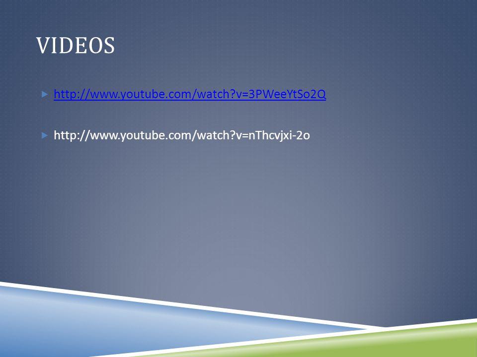 VIDEOS  http://www.youtube.com/watch v=3PWeeYtSo2Q http://www.youtube.com/watch v=3PWeeYtSo2Q  http://www.youtube.com/watch v=nThcvjxi-2o