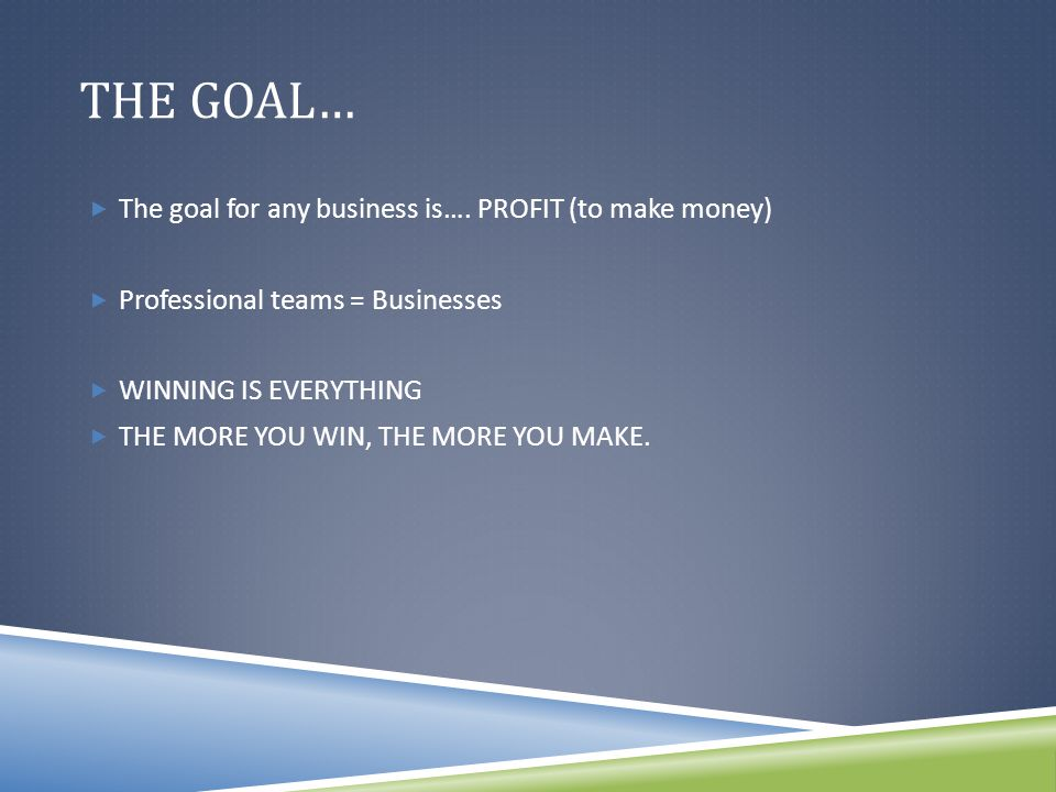 THE GOAL…  The goal for any business is….