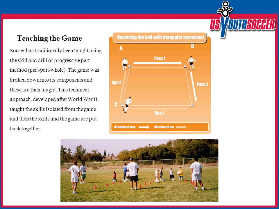 Teaching the Game Soccer has traditionally been taught using the skill and drill or progressive part method (part-part-whole).