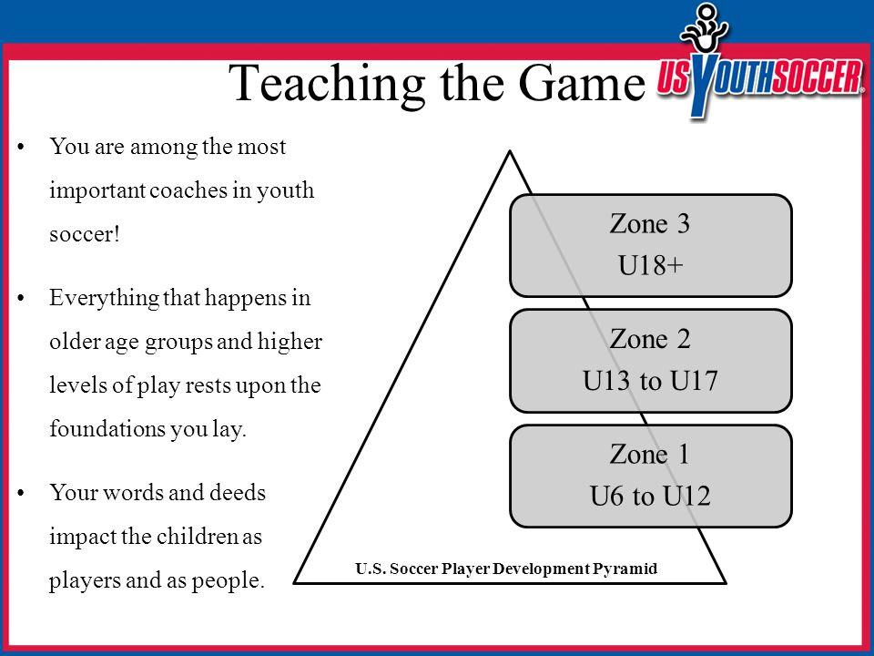Teaching the Game Zone 3 U18+ Zone 2 U13 to U17 Zone 1 U6 to U12 U.S. Soccer Player Development Pyramid You are among the most important coaches in yo