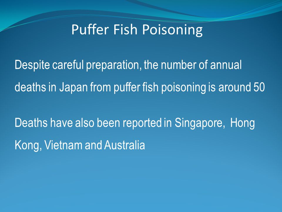 Despite careful preparation, the number of annual deaths in Japan from puffer fish poisoning is around 50 Deaths have also been reported in Singapore,