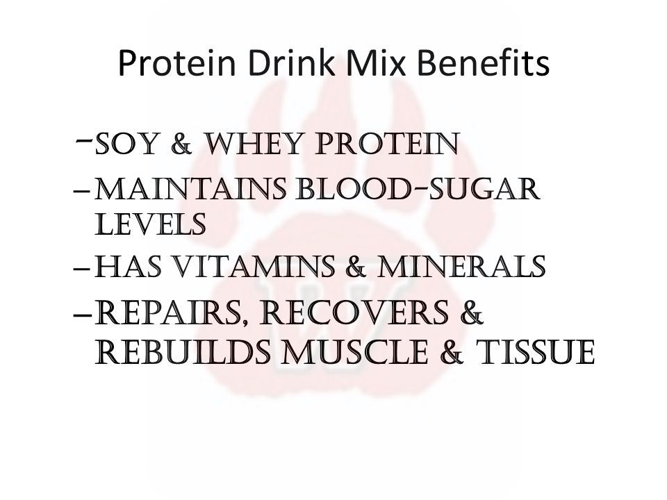 Protein Drink Mix Benefits - soy & Whey Protein – maintains blood-sugar levels – has vitamins & minerals – Repairs, Recovers & rebuilds muscle & tissue