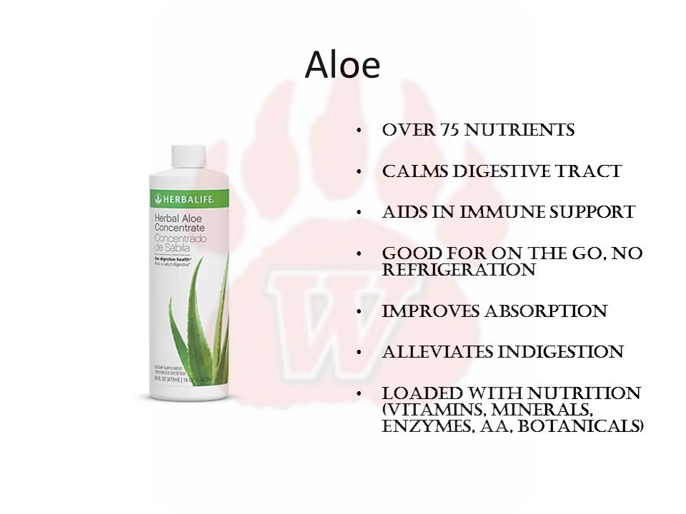Aloe Over 75 Nutrients Calms digestive tract Aids in immune support Good for on the go, no refrigeration Improves absorption Alleviates indigestion Loaded with nutrition (vitamins, minerals, enzymes, AA, Botanicals)