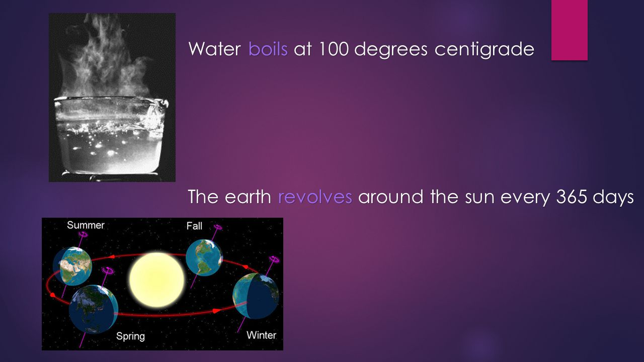 Water boils at 100 degrees centigrade The earth revolves around the sun every 365 days