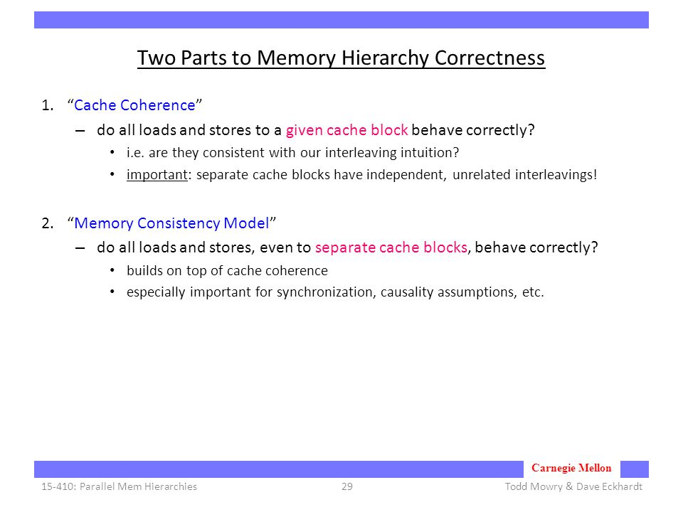 Carnegie Mellon Two Parts to Memory Hierarchy Correctness 1. Cache Coherence – do all loads and stores to a given cache block behave correctly.