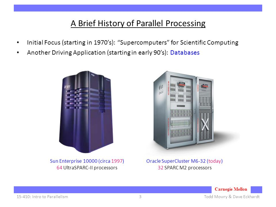 Carnegie Mellon A Brief History of Parallel Processing Initial Focus (starting in 1970's): Supercomputers for Scientific Computing Another Driving Application (starting in early 90's): Databases Todd Mowry & Dave Eckhardt15-410: Intro to Parallelism3 Sun Enterprise 10000 (circa 1997) 64 UltraSPARC-II processors Oracle SuperCluster M6-32 (today) 32 SPARC M2 processors