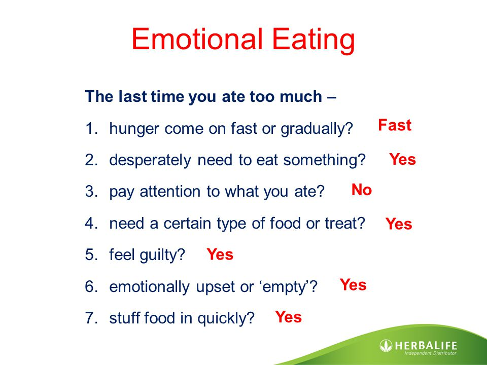 Emotional Eating The last time you ate too much – 1.hunger come on fast or gradually? 2.desperately need to eat something? 3.pay attention to what you