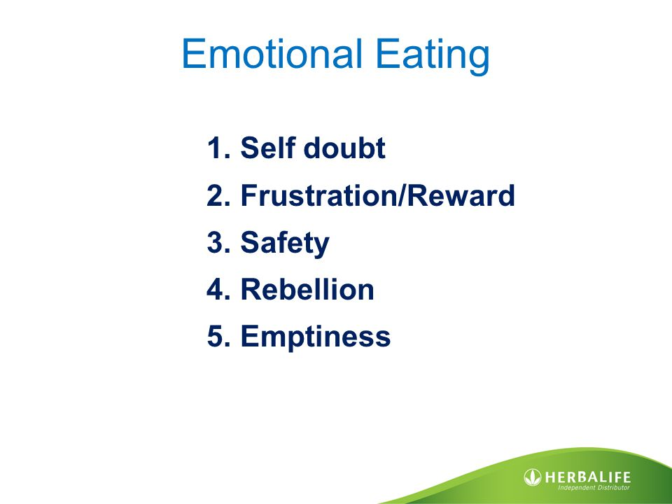 Emotional Eating 1.Self doubt 2.Frustration/Reward 3.Safety 4.Rebellion 5.Emptiness
