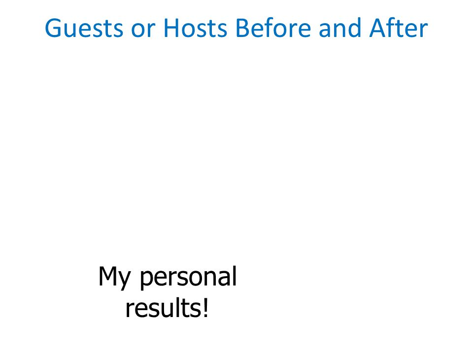 My personal results! Guests or Hosts Before and After