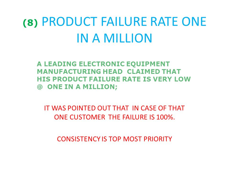 (8) PRODUCT FAILURE RATE ONE IN A MILLION A LEADING ELECTRONIC EQUIPMENT MANUFACTURING HEAD CLAIMED THAT HIS PRODUCT FAILURE RATE IS VERY LOW @ ONE IN