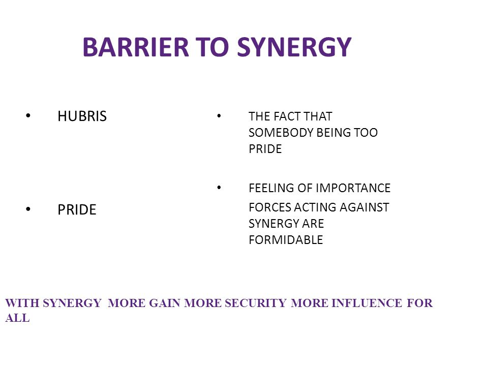 BARRIER TO SYNERGY HUBRIS PRIDE THE FACT THAT SOMEBODY BEING TOO PRIDE FEELING OF IMPORTANCE FORCES ACTING AGAINST SYNERGY ARE FORMIDABLE WITH SYNERGY
