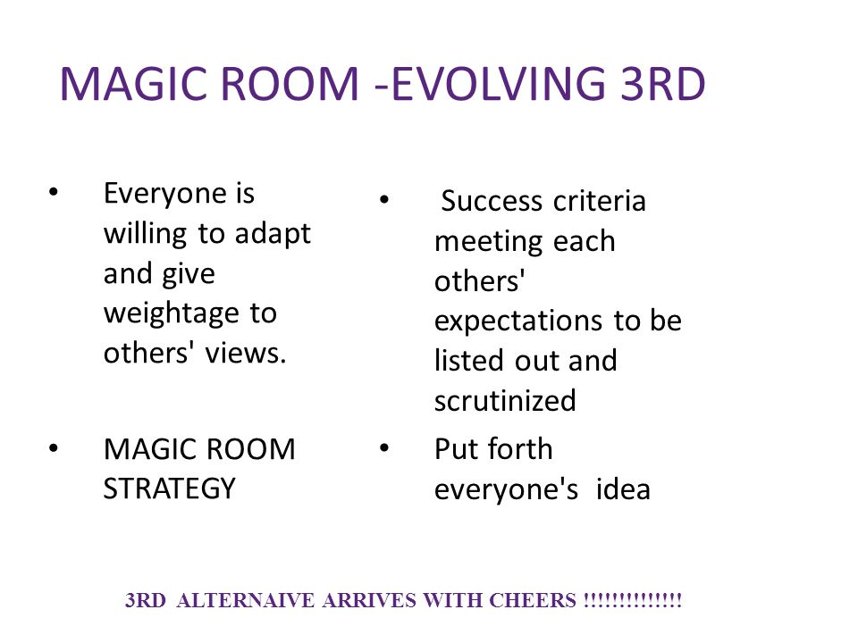 MAGIC ROOM -EVOLVING 3RD Everyone is willing to adapt and give weightage to others' views. MAGIC ROOM STRATEGY Success criteria meeting each others' e