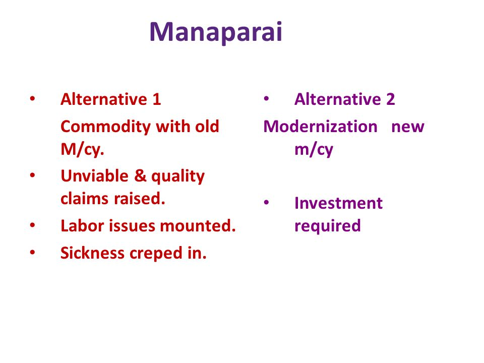 Manaparai Alternative 1 Commodity with old M/cy. Unviable & quality claims raised. Labor issues mounted. Sickness creped in. Alternative 2 Modernizati
