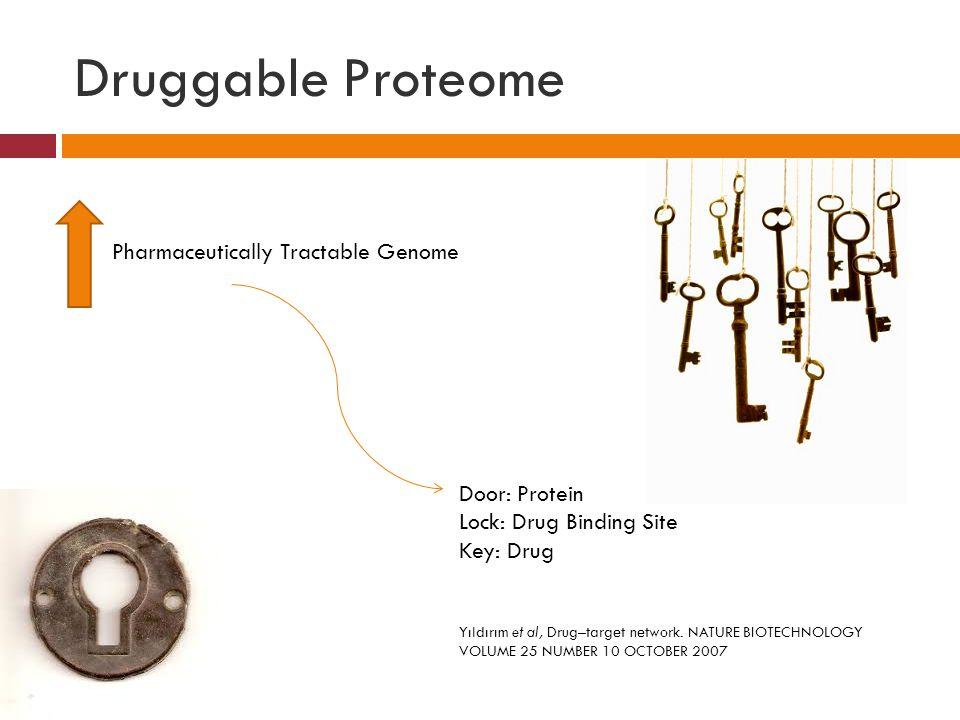 Druggable Proteome Door: Protein Lock: Drug Binding Site Key: Drug Pharmaceutically Tractable Genome Yıldırım et al, Drug–target network.