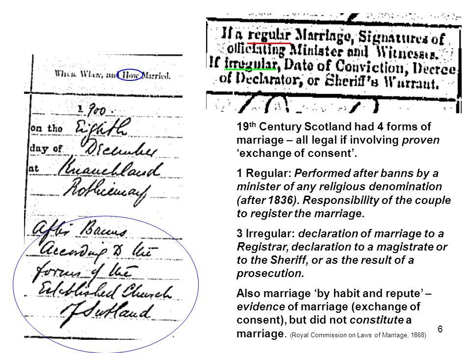 19 th Century Scotland had 4 forms of marriage – all legal if involving proven 'exchange of consent'. 1 Regular: Performed after banns by a minister o