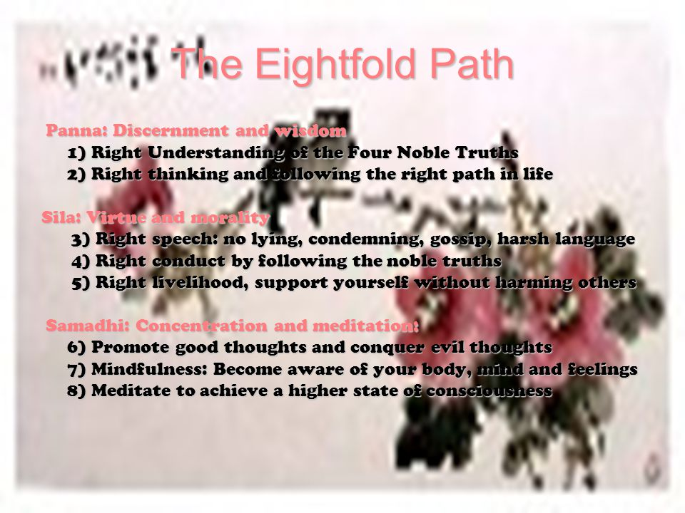 The Eightfold Path Panna: Discernment and wisdom 1) Right Understanding of the Four Noble Truths 2) Right thinking and following the right path in life Sila: Virtue and morality 3) Right speech: no lying, condemning, gossip, harsh language 3) Right speech: no lying, condemning, gossip, harsh language 4) Right conduct by following the noble truths 4) Right conduct by following the noble truths 5) Right livelihood, support yourself without harming others 5) Right livelihood, support yourself without harming others Samadhi: Concentration and meditation: Samadhi: Concentration and meditation: 6) Promote good thoughts and conquer evil thoughts 7) Mindfulness: Become aware of your body, mind and feelings 8) Meditate to achieve a higher state of consciousness
