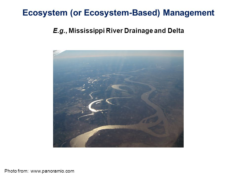 Photo from:   Ecosystem (or Ecosystem-Based) Management E.g., Mississippi River Drainage and Delta