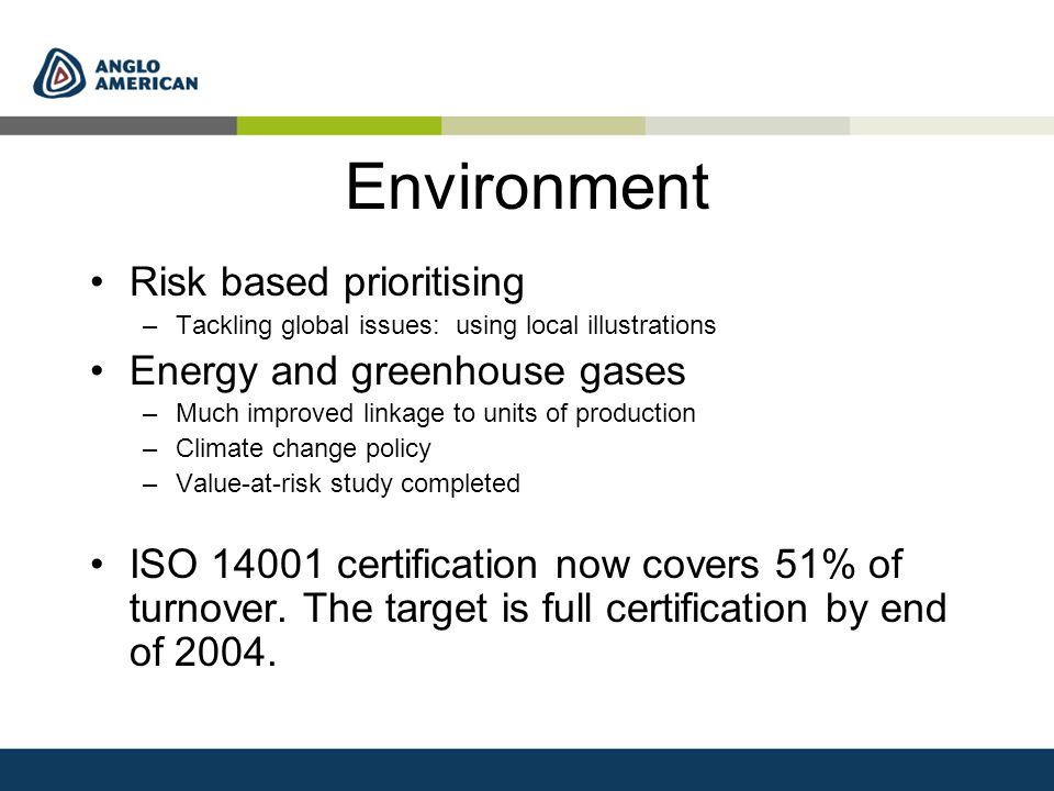 Environment Risk based prioritising –Tackling global issues: using local illustrations Energy and greenhouse gases –Much improved linkage to units of production –Climate change policy –Value-at-risk study completed ISO 14001 certification now covers 51% of turnover.