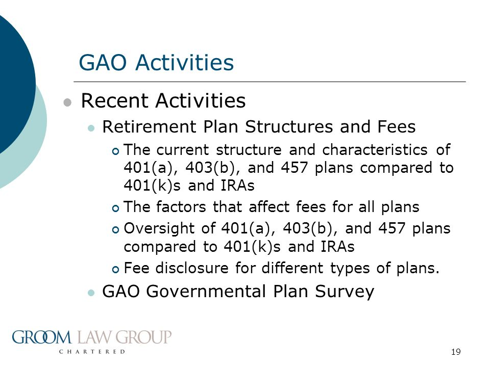 19 Recent Activities Retirement Plan Structures and Fees The current structure and characteristics of 401(a), 403(b), and 457 plans compared to 401(k)
