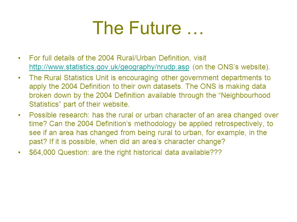 The Future … For full details of the 2004 Rural/Urban Definition, visit http://www.statistics.gov.uk/geography/nrudp.asp (on the ONS's website).