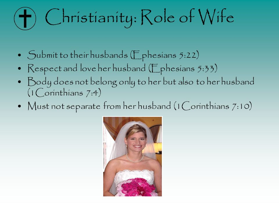Christianity: Role of Wife Submit to their husbands (Ephesians 5:22) Respect and love her husband (Ephesians 5:33) Body does not belong only to her but also to her husband (1Corinthians 7:4) Must not separate from her husband (1Corinthians 7:10)