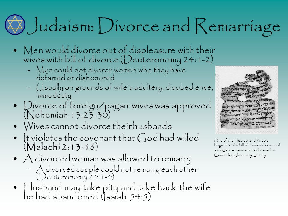 Judaism: Divorce and Remarriage Men would divorce out of displeasure with their wives with bill of divorce (Deuteronomy 24:1-2) –Men could not divorce women who they have defamed or dishonored –Usually on grounds of wife's adultery, disobedience, immodesty Divorce of foreign/pagan wives was approved (Nehemiah 13:23-30) Wives cannot divorce their husbands It violates the covenant that God had willed (Malachi 2:13-16) A divorced woman was allowed to remarry –A divorced couple could not remarry each other (Deuteronomy 24:1-4) Husband may take pity and take back the wife he had abandoned (Isaiah 54:5) One of the Hebrew and Arabic fragments of a bill of divorce discovered among some manuscripts donated to Cambridge University Library