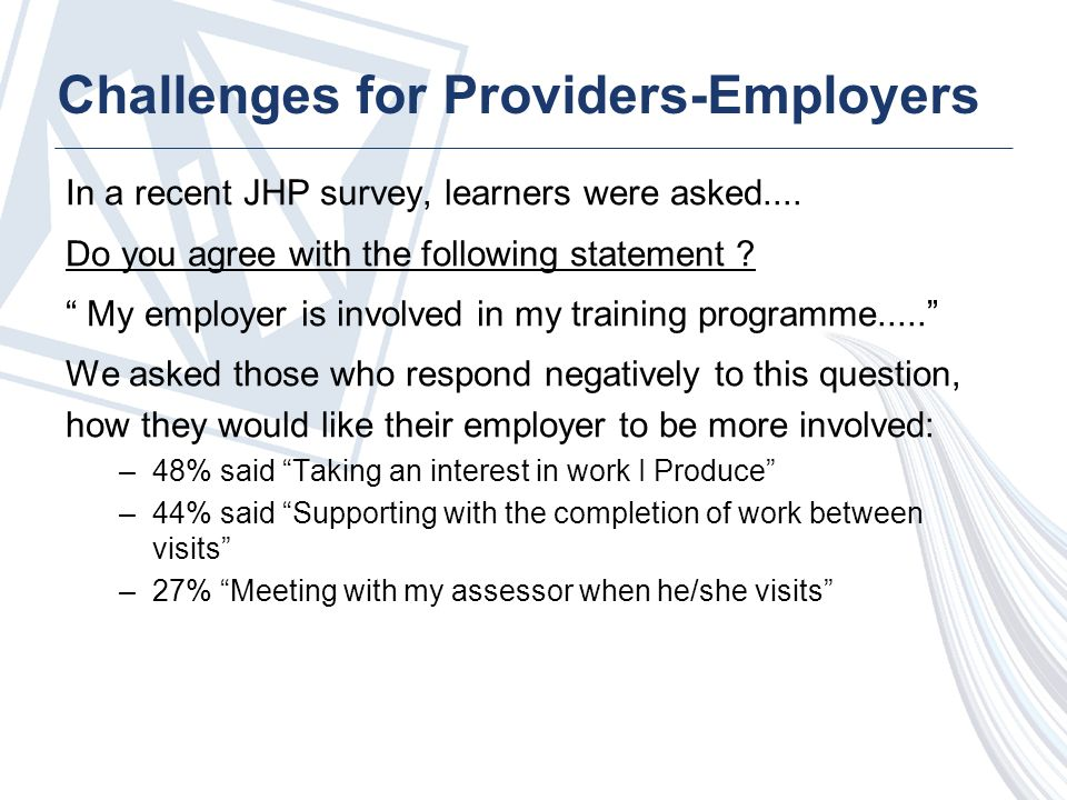 Challenges for Providers-Employers In a recent JHP survey, learners were asked....