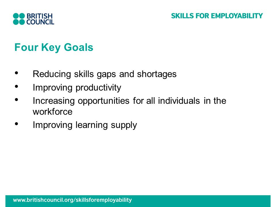 Four Key Goals Reducing skills gaps and shortages Improving productivity Increasing opportunities for all individuals in the workforce Improving learning supply
